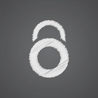 Icône de doodle logo croquis de verrouillage isolé sur fond sombre