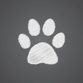Icône de doodle logo empreinte de chat croquis isolé sur fond sombre