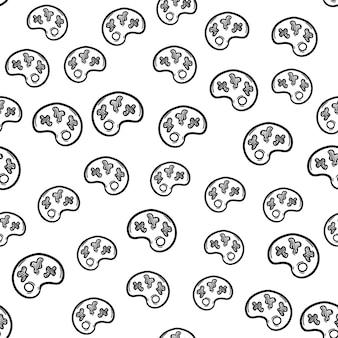 Icône de doodle de palette de modèle sans couture dessinée à la main. croquis noir dessiné à la main. symbole de signe. élément de décoration. fond blanc. isolé. conception plate. illustration vectorielle.