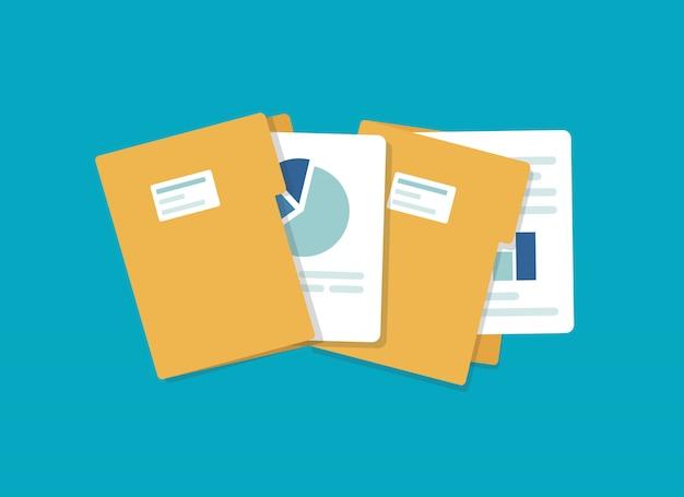 Icône de dossier ouvert. dossier avec documents