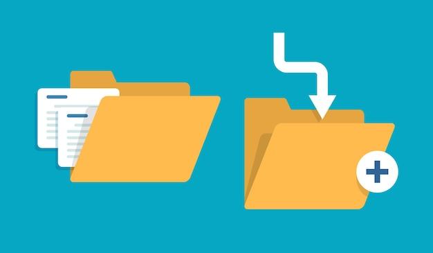 Icône de dossier ouvert dossier avec l'icône du design documentsflat vector illustration