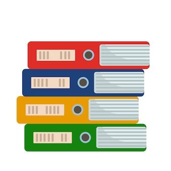 Icône de dossiers de fichiers isolé sur blanc plat