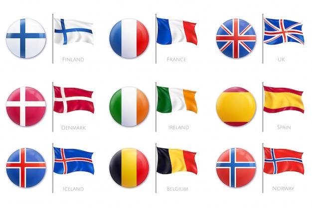 Icône de drapeau d'insigne réaliste sertie de différentes couleurs de drapeaux sur l'illustration de badges en plastique