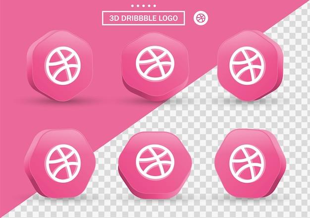 Icône de dribbble 3d dans un cadre de style moderne et un polygone pour les logos d'icônes de médias sociaux