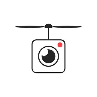 Icône de drone avec objectif de caméra. concept de jouet de passe-temps intelligent, caméra d'action, tournage de drone, instantané, vidéographie. isolé sur fond blanc. illustration vectorielle de style plat tendance logotype moderne design