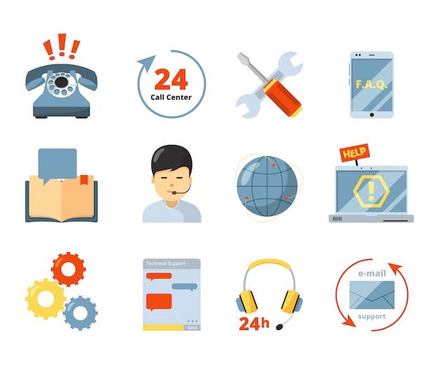 Icône du centre d'appels. service d'assistance 24h / 24, aide les gestionnaires de bureau, consultants, administrateur informatique dans les symboles isolés