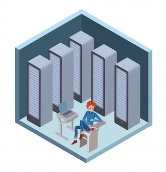Icône du centre de données, administrateur système. homme assis à l'ordinateur dans la salle des serveurs. illustration en projection isométrique, isolée sur blanc.
