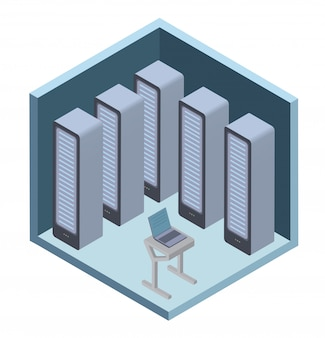 Icône du centre de données, salle des serveurs. illustration en projection isométrique, sur blanc.