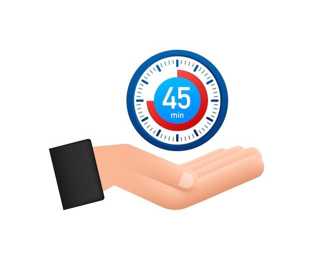 L'icône du chronomètre 45 minutes dans la main icône du chronomètre dans un style plat
