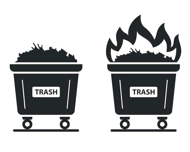 Icône du conteneur dans lequel la poubelle brûle. mettre le feu aux déchets. illustration plate.