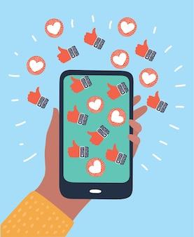 Icône du design plat coeur instagram smartphone