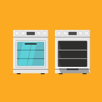 Icône du four fermé et ouvert isolé sur fond orange. illustration vectorielle