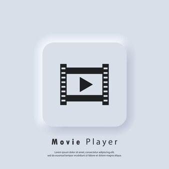 Icône du lecteur de film. lecteur multimédia. vecteur eps 10. icône de l'interface utilisateur. bouton web de l'interface utilisateur blanc neumorphic ui ux. neumorphisme
