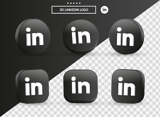 Icône du logo 3d linkedin dans un cercle et un carré noirs modernes pour les logos d'icônes de médias sociaux