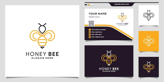 Icône du logo abeille miel avec logo abeille de style linéaire et conception de carte de visite vecteur premium