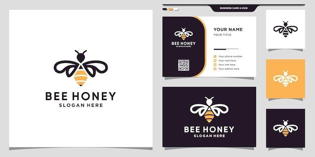 Icône du logo abeille miel avec style d'art au ligne et concept créatif et conception de carte de visite vecteur premium