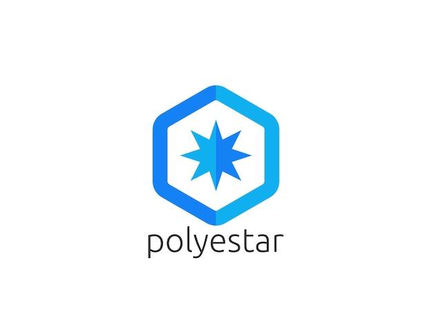 Icône du logo abstrait soleil étoile polygone. applications créatives moderne design d'entreprise concept illustration vectorielle