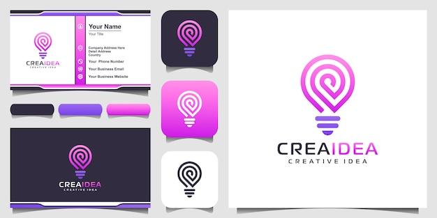 Icône du logo ampoule intelligente et carte de visite. conception de logo d'ampoule colorée. idée de logo d'ampoule créative. idée de technologie de logo numérique ampoule