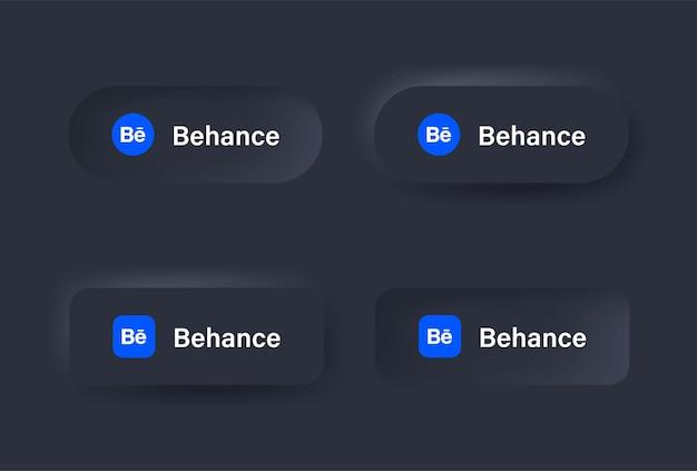 Icône du logo behance neumorphique en bouton noir pour les logos d'icônes de médias sociaux dans les boutons de neumorphisme