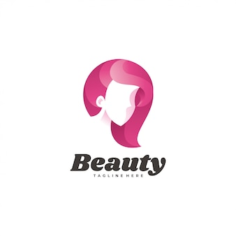 Icône du logo cheveux beauté femme visage