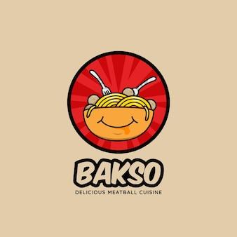 Icône du logo du restaurant bol de boulettes de viande bakso avec plein de nouilles et visage souriant