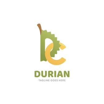 Icône du logo durian en forme de lettre d et c de style monogramme de dessin animé