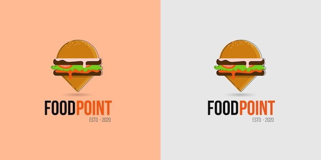 Icône du logo de l'emplacement de la nourriture pour les magasins d'alimentation, les camions de nourriture et les chariots à pied
