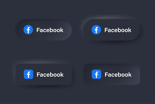 Icône du logo facebook neumorphique en bouton noir pour les logos d'icônes de médias sociaux dans les boutons de neumorphisme