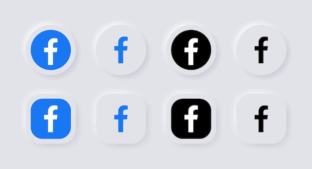 Icône du logo facebook neumorphique pour les icônes de médias sociaux populaires logos dans les boutons de neumorphisme ui ux