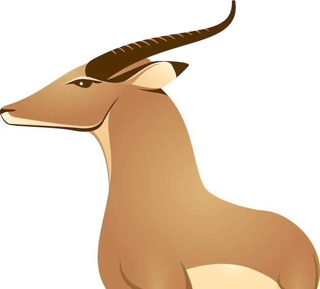 L'icône du logo fier de l'antilope africaine de gazelle de cerf