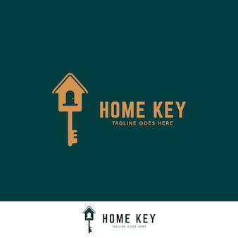 Icône du logo immobilier maison clé propriété