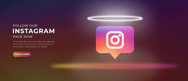 Icône du logo instagram avec bannière d'effet de lumière 3d vecteur premium