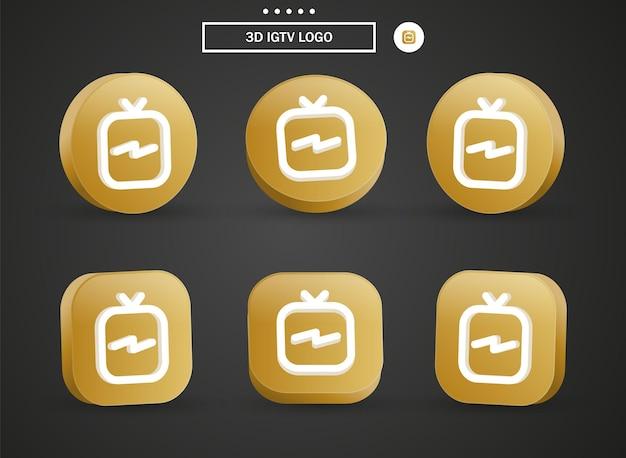 Icône du logo instagram igtv 3d dans un cercle et un carré dorés modernes pour les logos d'icônes de médias sociaux