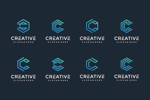 Icône du logo lettre c créative et élégante pour les entreprises de luxe