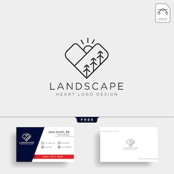 Icône du logo ligne amour de montagne isolé