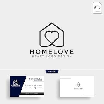 Icône du logo ligne à la maison d'amour isolé