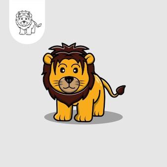 Icône du logo lion mignon