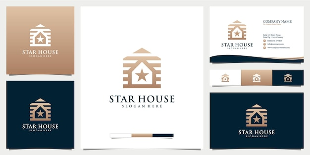 Icône du logo maison et étoile avec modèle de carte de visite
