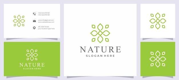 Icône du logo nature ornement et carte de visite