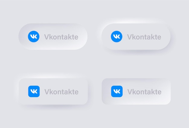 Icône du logo neumorphic vk vkontakte pour les logos d'icônes de médias sociaux populaires dans les boutons de neumorphisme ui ux