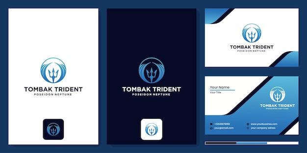 Icône du logo poséidon neptune sceptre, modèle vectoriel d'icône de logo de baguette trident sur fond sombre et carte de visite.