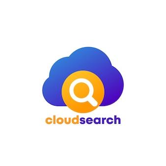 Icône du logo de recherche cloud sur blanc