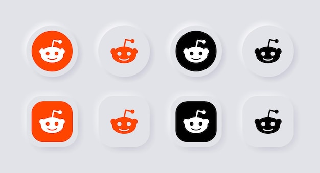 Icône du logo reddit neumorphique pour les logos d'icônes de médias sociaux populaires dans les boutons de neumorphisme ui ux