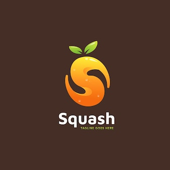 Icône du logo de smoothies au jus d'orange de courge en forme de lettre s