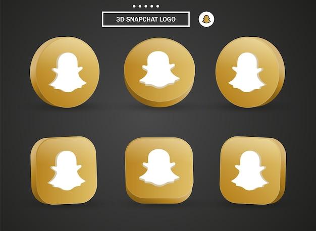 Icône du logo snapchat 3d dans un cercle et un carré dorés modernes pour les logos d'icônes de médias sociaux