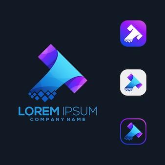 Icône du logo t tech premium