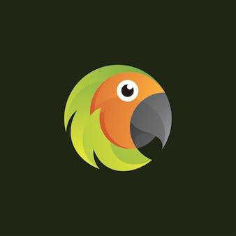 Icône du logo tête d'oiseau perroquet coloré abstrait