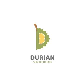 Icône du logo tranche ouverte durian en forme de lettre d