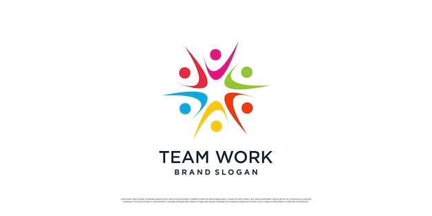 Icône du logo de travail d'équipe avec concept abstrait moderne vecteur premium partie 1