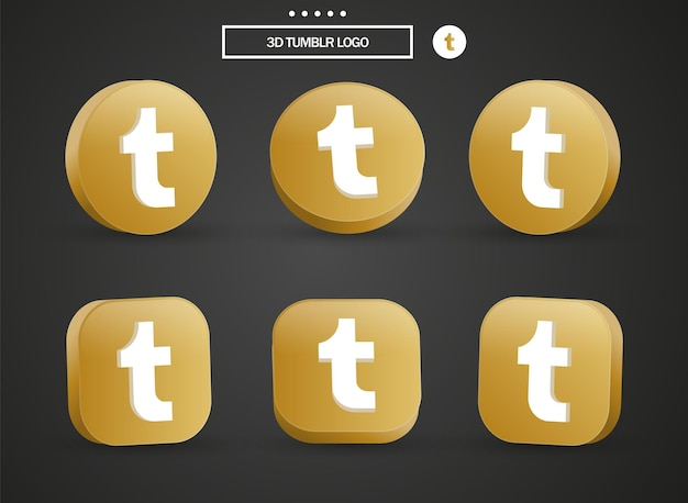 Icône du logo tumblr 3d dans un cercle et un carré dorés modernes pour les logos d'icônes de médias sociaux